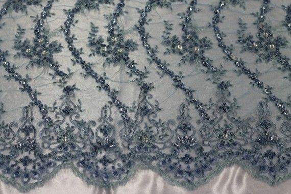 Tissu Tulle Perlé Ciel -Coupon de 3m40