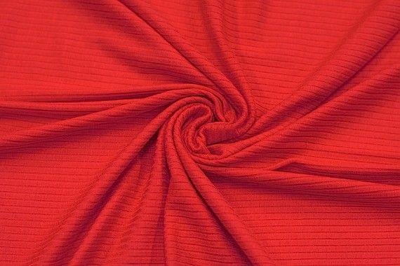 Tissu Jersey Bord Côte Rouge -Au Mètre