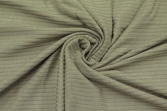 Tissu Jersey Bord Côte Kaki -Coupon de 3 mètres