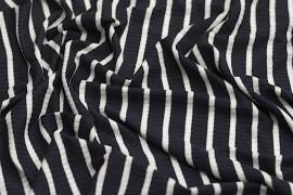 Tissu Jersey Bord Côte Lena Marine/Ecru -Au Mètre