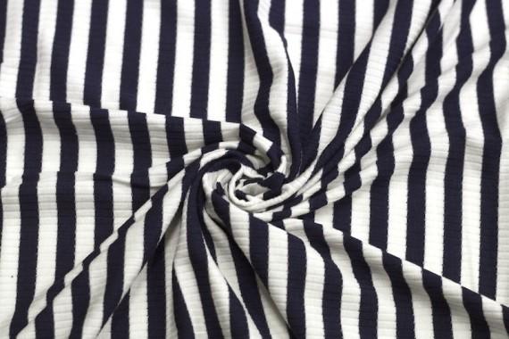 Tissu Jersey Bord Côte Lolita Marine/Ecru -Au Mètre