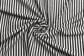 Tissu Jersey Bord Côte Picadilly Noir/Ecru -Au Mètre