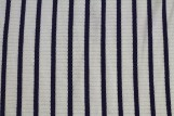 Tissu Jersey Bord Côte Lena Ecru/Marine -Au Mètre