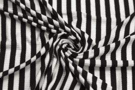 Tissu Jersey Bord Côte Lolita Noir/Ecru -Coupon de 3 mètres