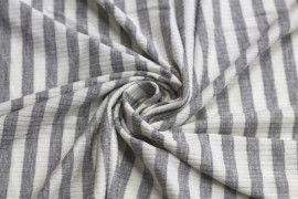 Tissu Jersey Bord Côte Lolita Gris/Ecru -Coupon de 3 mètres