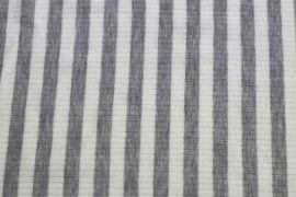 Tissu Jersey Bord Côte Lolita Gris/Ecru -Au Mètre