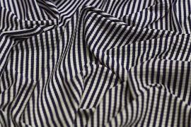 Tissu Jersey Bord Côte Picadilly Marine/Ecru -Au Mètre