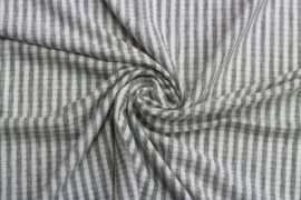 Tissu Jersey Bord Côte Picadilly Gris/Ecru -Coupon de 3 mètres