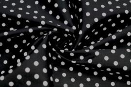 Tissu Satin de Coton Petit Pois Blanc/Noir Coupon de 3 Metres