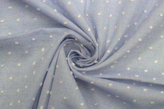Tissu Voile à Pois Uni Bleu Ciel -Au Mètre