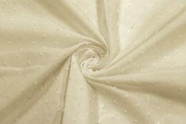 Tissu Voile à Pois Uni Beige -Coupon de 3 mètres