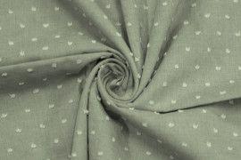 Tissu Voile à Pois Uni Kaki -Coupon de 3 mètres