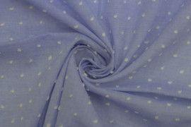 Tissu Voile a Pois Uni Jean -Coupon de 3 metres