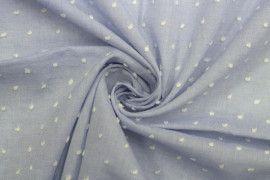 Tissu Voile a Pois Uni Bleu Ciel -Coupon de 3 metres