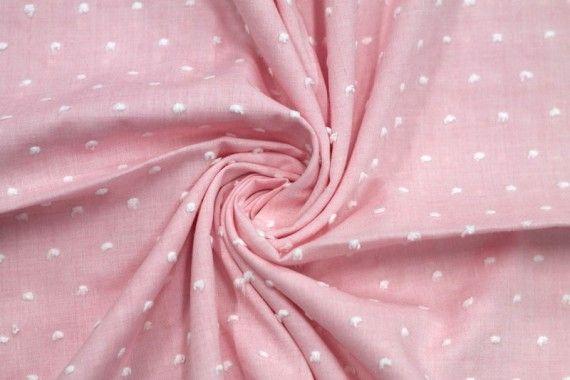 Tissu Voile à Pois Uni Rose -Coupon de 3 mètres
