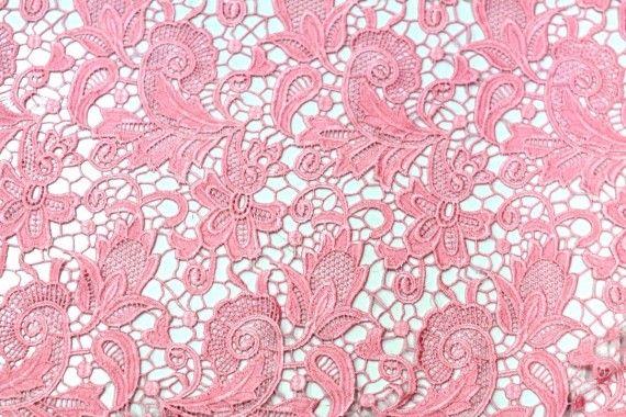 Tissu Guipure Rose Bonbon -Au Mètre
