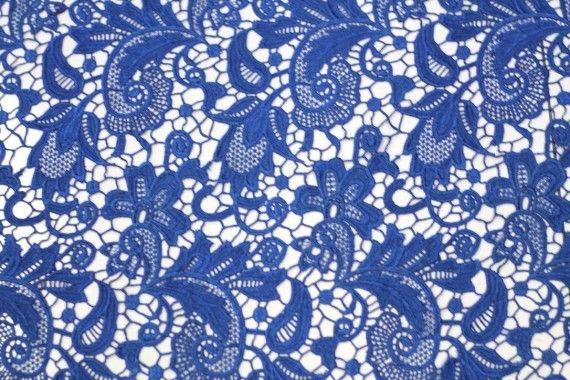 Tissu Guipure Bleu Roi -Au Mètre