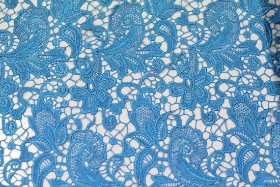 Tissu Guipure Turquoise -Au Mètre