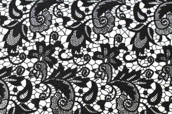Tissu Guipure Noir -Au Mètre
