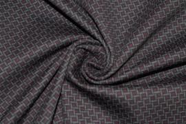Tissu Milano Atlanta Polygone Violet/Gris -Coupon de 3 mètres