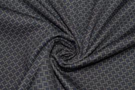 Tissu Milano Atlanta Polygone Bleu/Gris -Coupon de 3 mètres