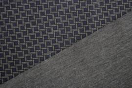 Tissu Milano Atlanta Polygone Bleu/Gris -Au Mètre