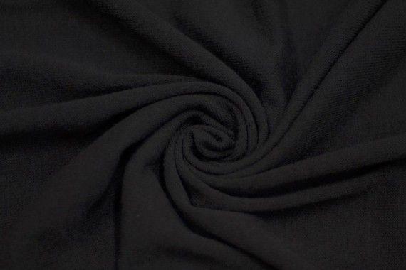 Tissu Lainage Pull Angora Noir -Coupon de 3 mètres