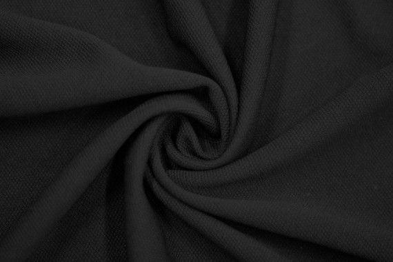 Tissu Maille Piquée Noir -Coupon de 3 mètres