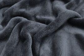 Tissu Micropolaire Doudou Uni Gris Anthracite -Coupon de 3 mètres