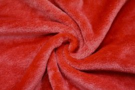 Tissu Micropolaire Doudou Uni Rouge -Coupon de 3 mètres
