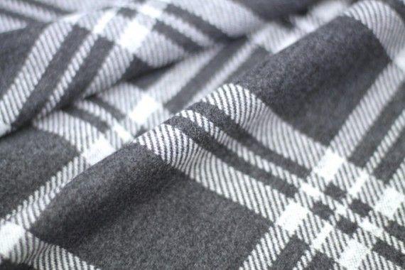 Tissu Lainage Carreaux Gris/Blanc -Au Mètre
