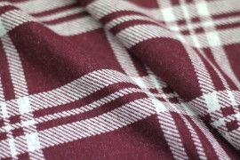 Tissu Lainage Carreaux Bordeaux/Blanc -Coupon de 3 mètres