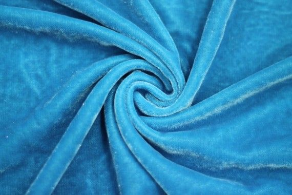 Tissu Velours Velvet Brillant Turquoise clair -Au Mètre