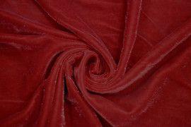 Tissu Velours Velvet Brillant Rouge -Au Metre