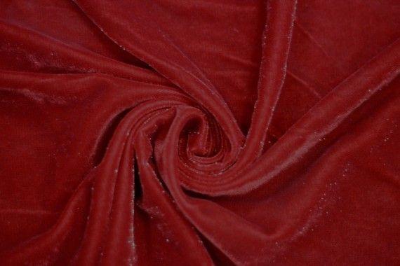 Tissu Velours Velvet Brillant Rouge -Au Mètre