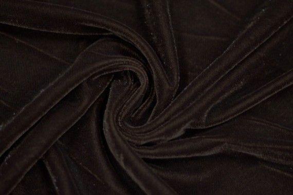 Tissu Velours Velvet Brillant Marron -Au Mètre