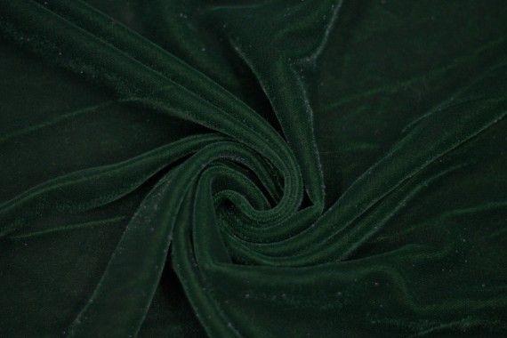 Tissu Velours Velvet Brillant Vert Foncé -Coupon de 3 mètres