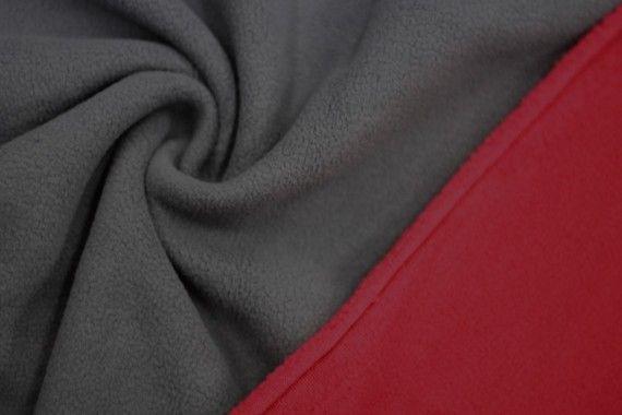 Tissu Polaire Double Face Gris/Rouge -Au Mètre
