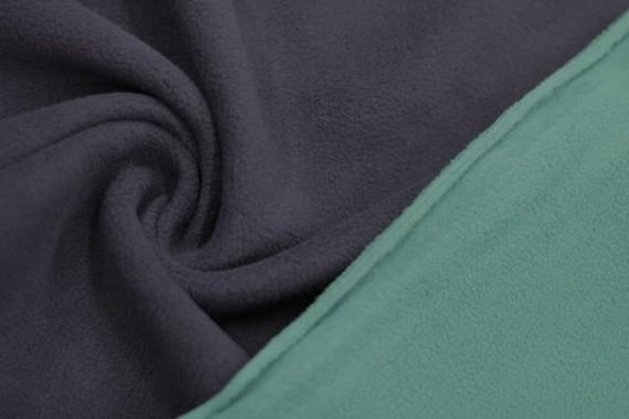 Tissu Polaire Double Face Marine/Turquoise -Au Mètre