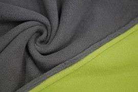 Tissu Polaire Double Face Gris/Anis -Coupon de 3 mètres