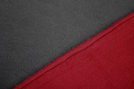 Tissu Polaire Double Face Gris/Rouge -Coupon de 3 mètres