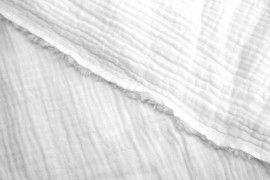 Tissu Double Gaze Blanc -Au Mètre