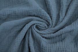 Tissu Double Gaze Bleu Vert -Au Mètre
