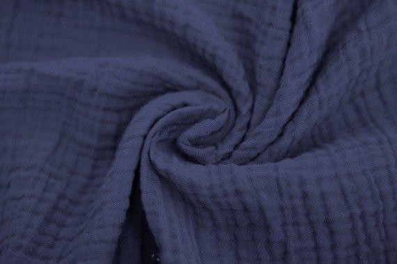 Tissu Double Gaze Bleu Ardoise -Au Mètre