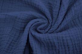 Tissu Double Gaze Bleu Moyen -Au Mètre