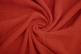 Tissu Double Gaze Rouge -Au Mètre