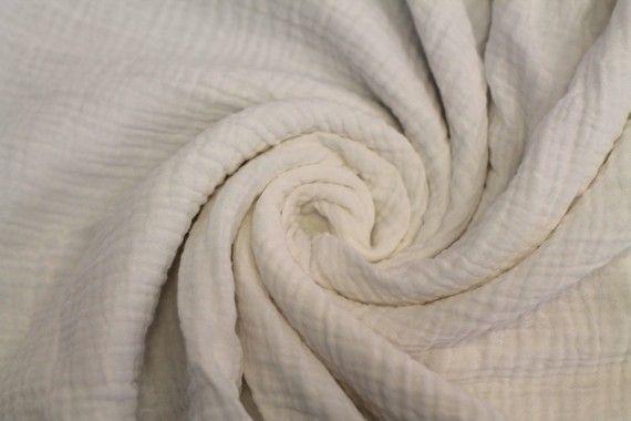 Tissu Double Gaze Blanc Cassé -Coupon de 3 mètres