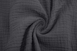 Tissu Double Gaze Gris Anthracite -Coupon de 3 mètres