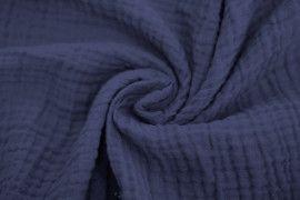 Tissu Double Gaze Bleu Ardoise -Coupon de 3 mètres