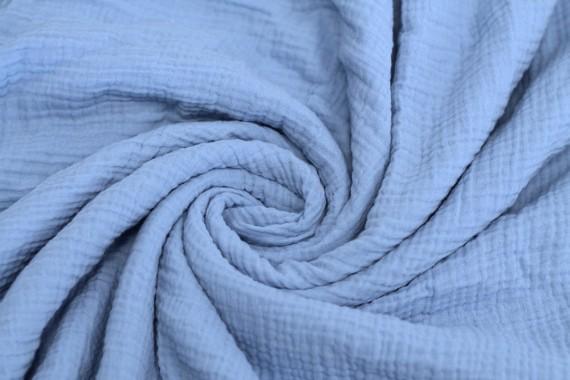 Tissu Double Gaze Bleu Ciel -Coupon de 3 mètres